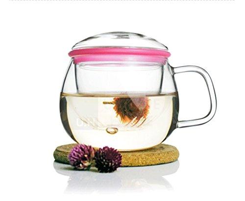 Fatto a mano regalo tazza da tè infusore in vetro trasparente soffiato a bocca con anello in silicone 300ml 10oz-Zeo + Unihom