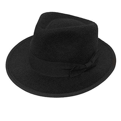 Erwachsene 1920er Velours Gangster Hat in Schwarz Trilby Fedora Gatsby Bugsy (Film) Malone Capone Pimp (1920er Den In Gangster Schwarze Jahren)