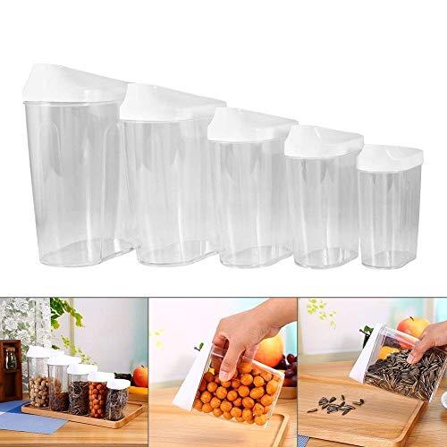 XLKJ Vorratsdosen,5 Stücke Behälter Set für Lebensmittel aus Kunststoff für Lagerung von Mehl,Zucker,Getreide (Set Vorratsdosen 5 Von)