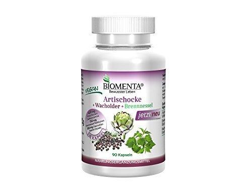 Biomenta® ARTISCHOCKE + WACHOLDER + BRENNNESSEL – Entwässerung + Verdauung anregen – 90 VEGANE Artischocken-Kapseln