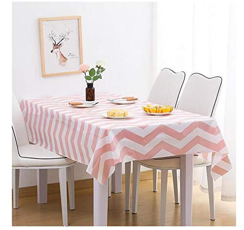 Hqianxi Tischdecke Einfache rosa und weiß gestreifte Tischdecke Wasserdicht Ölbeständig Dick Rechteckig Staubdicht No Wash Table Cover-70X120cm