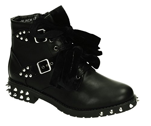 King Of Shoes Bequeme Damen Nieten Stiefeletten Bikerboots Halbschaft Halbhohe Stiefel Blockabsatz RB (40, Schwarz 02)