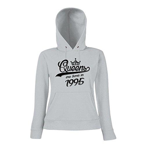 Queens are born in 1995 Premiumhoody   Geburtstags-Hoody   Jahrgang   22. Geburtstag   Frauen   Kapuzenpullover Graumeliert