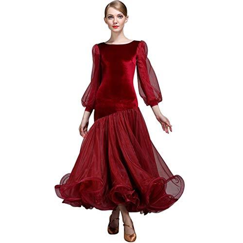 Laternenärmel Gesellschaftstanzkleider Wettbewerb Dancewear , Sexy Rückenfreie Moderne Performance Kostüme Great Swing (Farbe : Weinrot, größe : ()