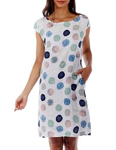 CHARIS MODA Leinen Kleid Viertelarm Punkte Druck Design Gr. 36-44 (M = 36, Weiss)