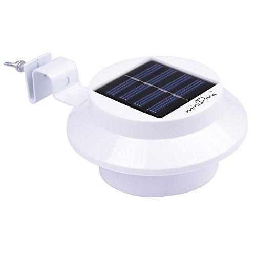 Minidiva Solar Zaun Licht mit 3 LEDs - Garten Solarleuchte für Haus, Zaun, Garten, Garage und Gehweg Beleuchtung (weiß) -