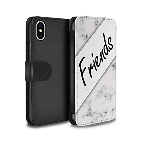 Stuff4 Coque/Etui/Housse Cuir PU Case/Cover pour Apple iPhone X/10 / Pouce Oiseau/Droite Design / Toi Moi Couples Collection Marbre/Copains