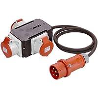 as - Schwabe Mixo Stromverteiler 60526 Neckar, 1 CEE-Gerätestecker 16 A mit 1,5 m Leitung, auf 3 CEE Steckdosen 16 A