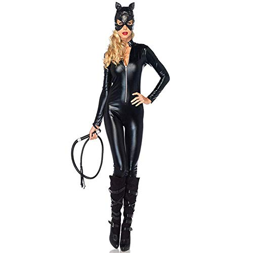 FrebAfOS Rollenspiel-Anzug, Schwarze PVC-Lackleder, helles Leder Cat Girl Uniform, Neutral Motorrad Anzug, XXL, XX-Large