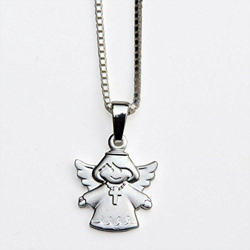 925 Silber Anhänger Schutzengel + Kette : Schutzengel mit Kreuz- Zur Geburt, Taufe, Konfirmation, Kommunion oder Namenstag