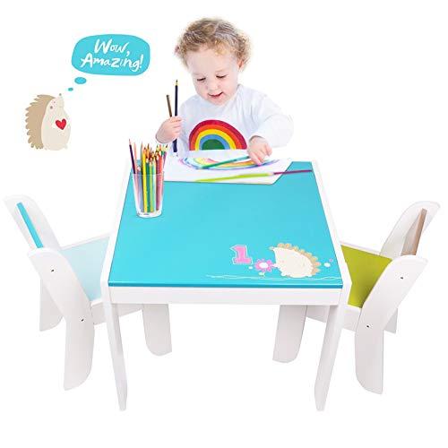 kindertisch und stühle - Blauer Igel Tisch Stuhl Kinder, holztisch kinder 2 stühle, Activity Tisch und Stuhl, Kindermöbel Spielzeug Für 1-5 Jahre Alt.