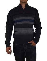 S&LU toller Herren-Feinstrick-Pullover mit Stehkragen und Reißverschluss im zeitlosen Streifen-Design in verschiedenen Größen