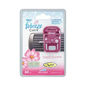 FEBREZE CAR ELIMINATES ODOURS AND FRESHENS - BLOSSOM & BREEZE INSPIRED BY THE GENTLE FRESHNESS OF WILD FRUIT & FLOWER MEADOW BATHED IN TROPICAL SUNSHINE