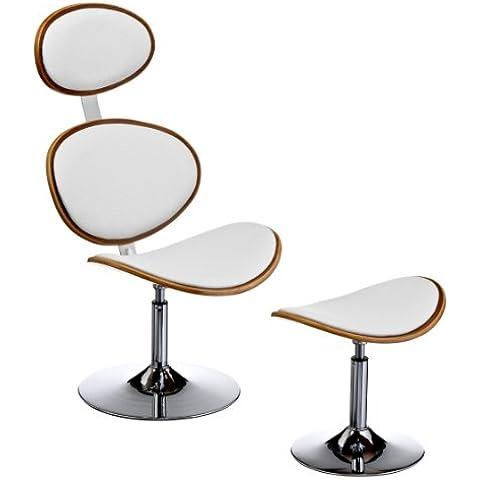 Premiere Housewares 2402321 Sgabello e Poggiapiedi in legno di Noce ed Ecopelle, 111x63x74 cm, Bianco