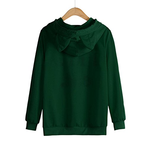Oyedens cat. Sweat à Capuche Femmes Manche Longue Chat Sweat-shirt Tops Sweater Femme Tops Encapuchonné Chemisiers Pull Sweats De Hoodie Vert