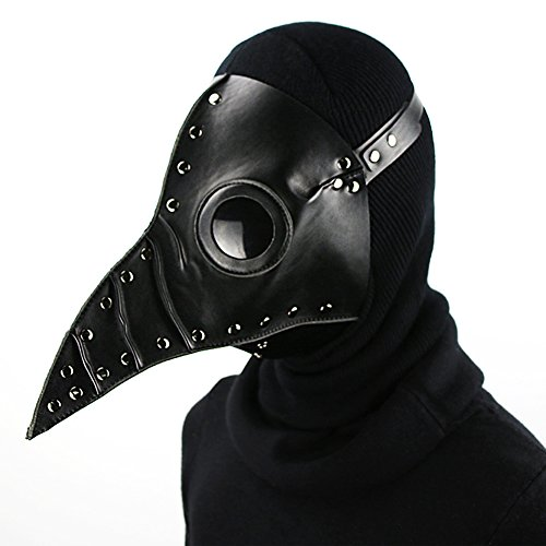 Etbotu Halloween Party Maske Pest Doktor Cosplay Steampunk PU Leder Maske Schwarz