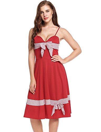 cooshional Robe Femmes Vintage Sexy Robe Col V Gilet Robe Arc A-Line Bas Plissé Elastique Ajustable Robe à Bretelle Fine Rouge