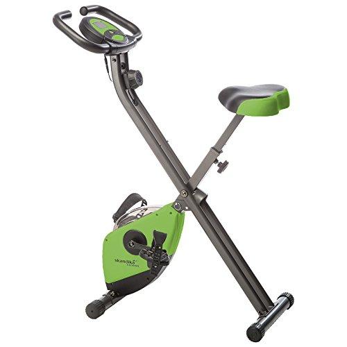 skandika Foldaway X-1000 Fitnessbike zusammenklappbar mit Multifunktionscomputer, Handpulssensoren, 8-stufige manuelle Widerstandseinstellung und Transportrollen, grün