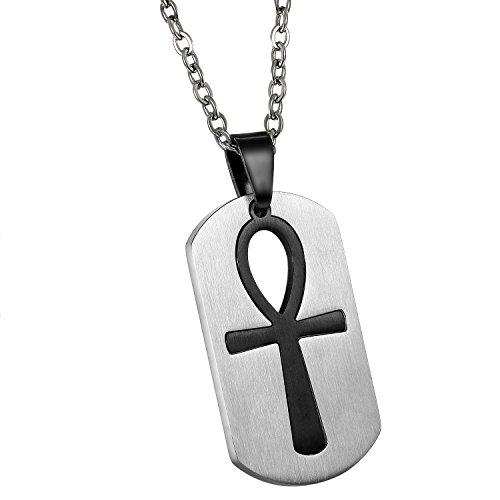 JewelryWe Schmuck Edelstahl Ägypten Ägyptisches Zeichen Anch o. Ankh Kreuz Dog Tag Anhänger mit 55cm Kette, Halskette für Herren und Damen, Schwarz, mit kostenlos Gravur