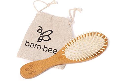 Haarbürste aus Bambus-Holz mit Naturborsten – Naturhaarbürste inklusive Beutel – Unterstütze Bienen (Haarbürste Bambus)