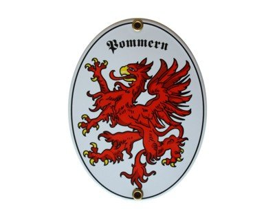 Pommern Emaille Schild Pommern 11,5 x 15 cm Emailschild Oval.