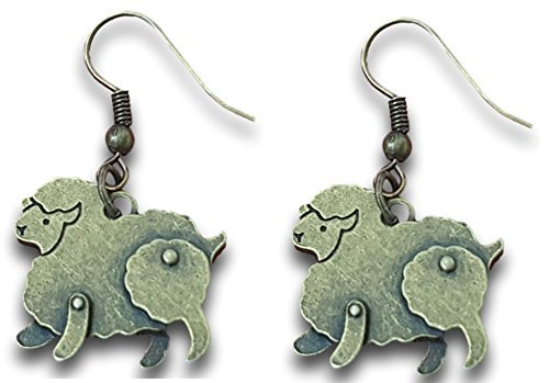 Vintage Sheep Charm Bronze Tone Dangle Earrings by Pashal