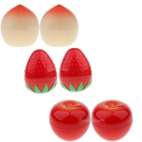 B Baosity 6x Pot Vide en Plastique Récipient Cosmétique Forme Fruits avec Couvercle pour Échantillon de Crèmes Stockage de Maquillage