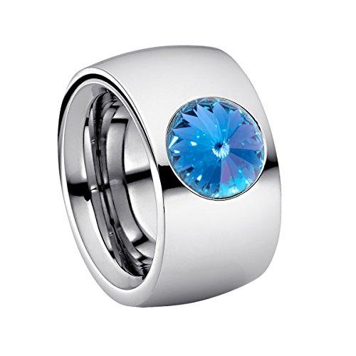 Heideman Ring Damen Coma 14 aus Edelstahl Silber farbend poliert Damenring für Frauen mit Swarovski Stein Kristall Saphir hell blau im Fantasie Edelsteinschliff 10mm -