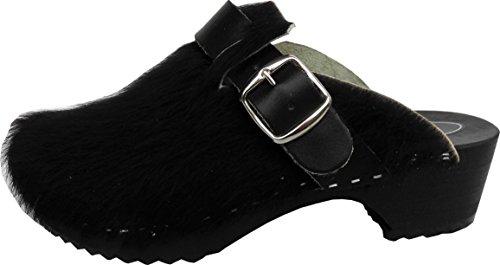 BUXA bei Lusy011 Schweden Holz Clogs - Pantolette Gr.37, 38, 39, 40, 41 Schwarz, Echt Leder- Kuhfell (Made in Poland 08.2.13.95) (38) (Leder Schwarz Kuhfell)
