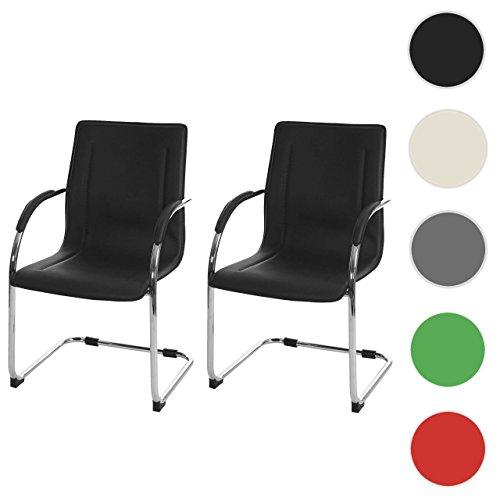 2x Konferenzstuhl Samara, Besucherstuhl Freischwinger, PVC ~ schwarz