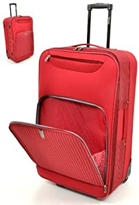 Highbury Pin Stripe Expandable Wheeled Trolley Case Suitcase Medium 68cm Wheeled Trolley Case - Red