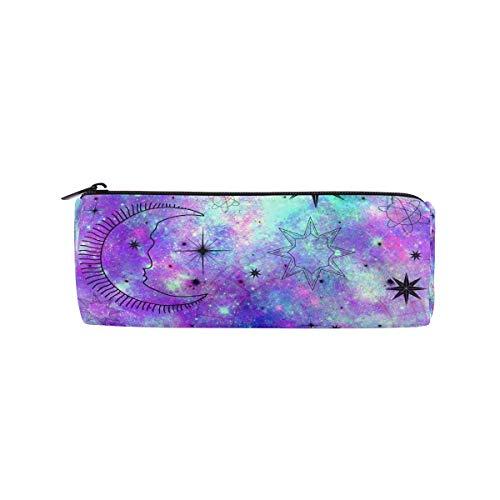 Federmäppchen für Kinder, mit großem Fassungsvermögen, Motiv Mond und Sterne, Violett/Blau
