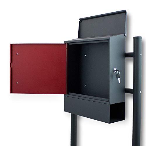 BITUXX® Freistehender Standbriefkasten Briefkastenanlage Seitenschloss und Zeitungsfach unten Dunkelgrau/Rot - 3