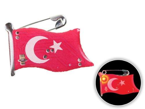Spilletta LED con luce intermittente bandiera turchia türkye turkey spilla pin badge calcio europei mondiali tifosi ultra (110) - Personalizzati Pin Badge