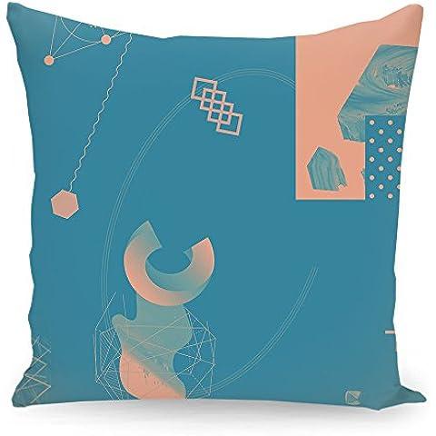 """Cuscino 50x50 cm Geometria illustrazione pastello """"Oggetti 10"""" blau - Cuscino - stampato fronte e retro - Cuscini """"Geometria illustrazione pastello"""" di """"Andreas Jarner"""""""