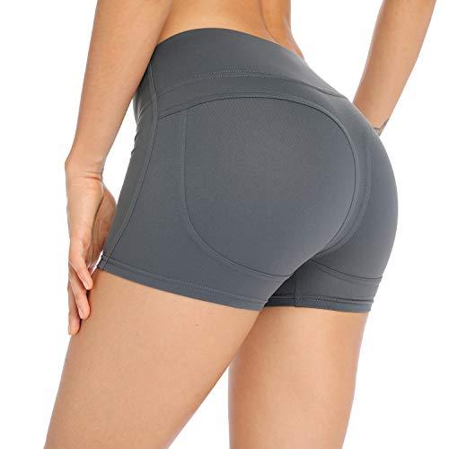 Spandex Workout Shorts (MISS MOLY Sport-Shorts, für Workout, Spandex, Push-Up, leger, Yoga, sportlich, Stretch, pfirsichfarben - Grün - Klein)