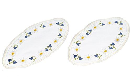 Tischwäsche Bestickte Deckchen Glockenblume oval 18 x 35 cm blau,gelb weiß 2 Stück
