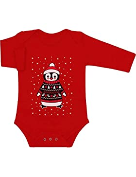 Shirtgeil Baby Xmas Pinguin mit Rentier Weihnachtspullover und Mütze Baby Langarm Body