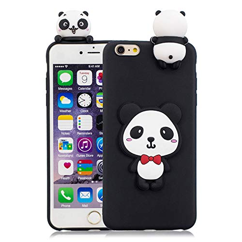 Funluna iPhone 6S/6 Plus Hülle, Niedlich 3D Karikatur Cute Panda Muster Backcover Case Kreativ Design Silikon Handy Schutzhülle Ultra Dünn TPU Weich Hülle Shell für Apple iPhone 6S Plus/iPhone 6 Plus