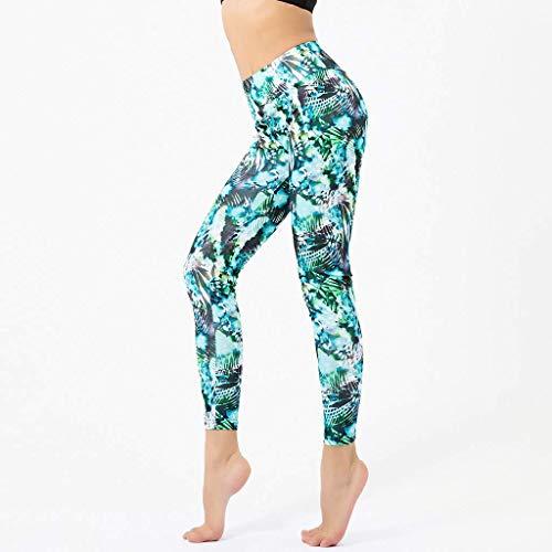 n Sport Hohe Taille Fitnesshose Yogahosen Bequem Laufen Strumpfhosen Gamaschen Atmen/Schweiß absorbieren (Grün, XL) ()