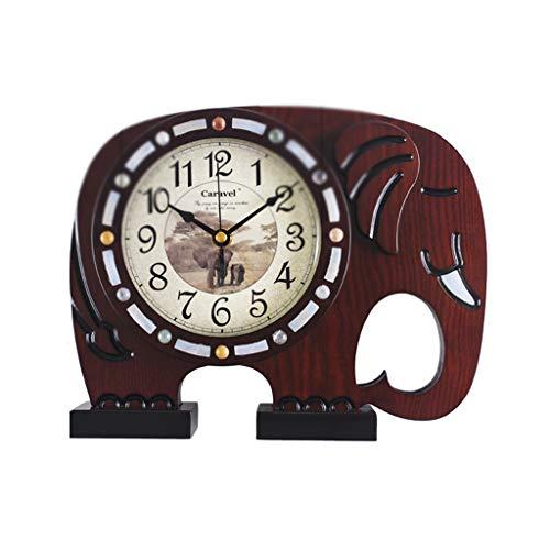 SMC Europäische Holz Wohnzimmer Kleine Elefant Dekorative Uhren Personalisierte Uhr Kreative Mode Stille Tischuhr (Color : A)