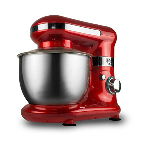 Hi-Tech Stand Mixer, 4L Kitchen Mixer, 600W 6 Speed With Pulse Function Tilt-Head Stand Mixers With Splash Guard, Stainless Steel Bowl, Beaters, Whisk, Dough Hook, Red