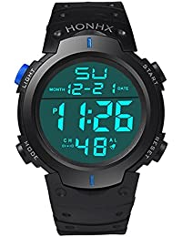 Reloje Hombre,Xinan Reloj Deporte LCD Digital Hombres de Goma Relojs Deportivo (Azul)