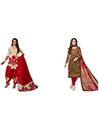 Jevi Prints Women's Dress Material (Pack of 2)(Rimzim-9159&Varsha-2363_Item 1 Color Beige & Red|Item 2 Color Brown_Free Size)