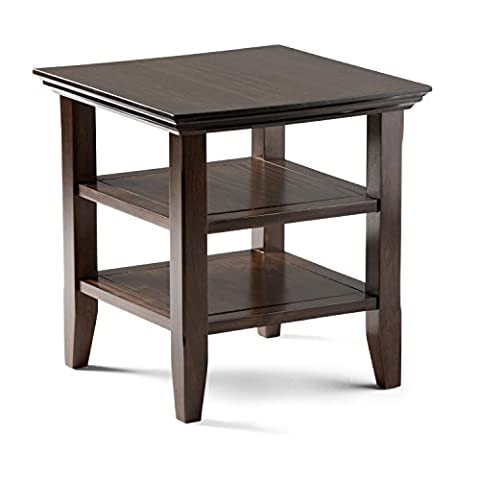 Simpli Home Acadian End Table, Rich Tobacco Brown