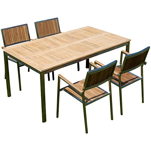 ASS Gartengarnitur Edelstahl Teak Set: Tisch 160x90 cm + 4 Teak Sessel A-Grade Teak Holz Serie Kuba Gastroqualität