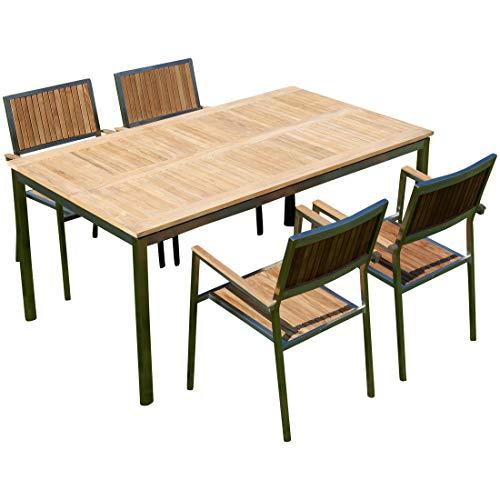 ASS Gartengarnitur Edelstahl Teak Set: Tisch 160x90 cm + 4 Teak Sessel Serie Kuba von -