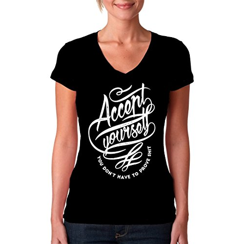 Fun Sprüche Girlie V-Neck Shirt - Accept yourself by Im-Shirt Schwarz