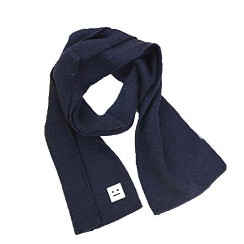 LuckyGirls Gestrickter Schal Wolle Lächeln Kinder Mädchen Jungen Winter Halten Warme Halstuch (Navy blau)