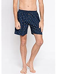 Nick & Jess Mens Navy Blue Anchor Print Cotton Boxer Shorts